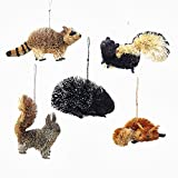 Kurt Adler 5 Assorted Buri Woodland Animal Fox, Skunk, Raccoon, Squirrel And Porcupine Christmas Ornaments Review