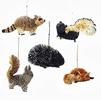 kurt adler 5 assorted buri woodland animal fox skunk raccoon squirrel and porcupine - Animal Christmas Decorations