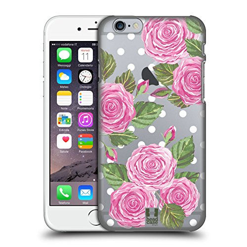 Case+Stand Ultra-thin Polycarbonate Protector Fits Apple iPhone 6/6S/7/7S/8 Hard Snap on Back Cover Clear Watercolor Flowers English (Transparent Pink Color Faceplate)
