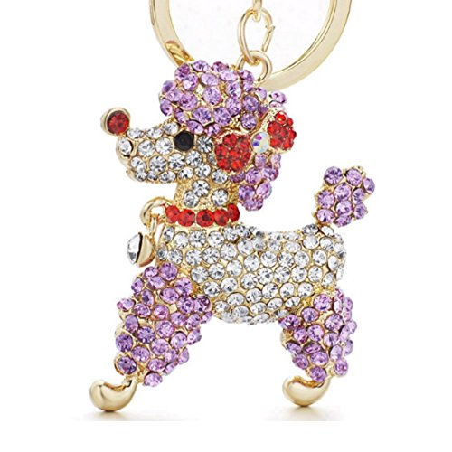 Stock Show 1Pc Lovely Poodle Dog Keychain with Beautiful Bling Diamond Bowknot Engraved Crystal Cartoon Animal Keychains Keyrings for Girl Women Alloy Purse Bag Key Chain Ring Holder Gift, - Poodle Crystal