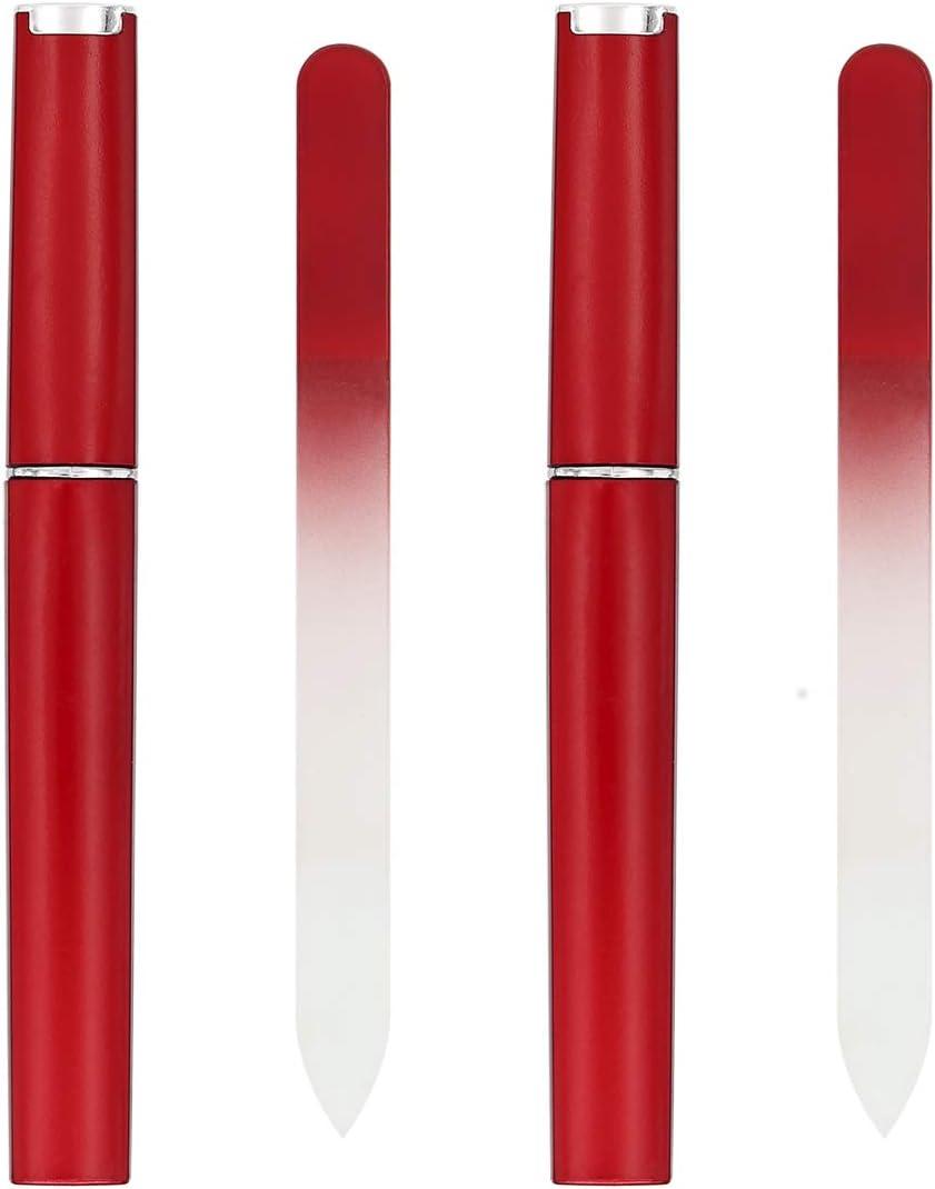 Leryeu - Lima de uñas de cristal con estuche para uñas naturales y acrílicas (2 unidades): Amazon.es: Belleza