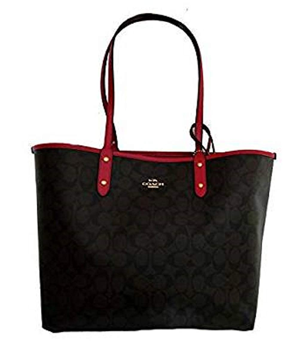 b387097a Coach Signature Reversible PVC City Large Tote Bag Handbag Brown / Red