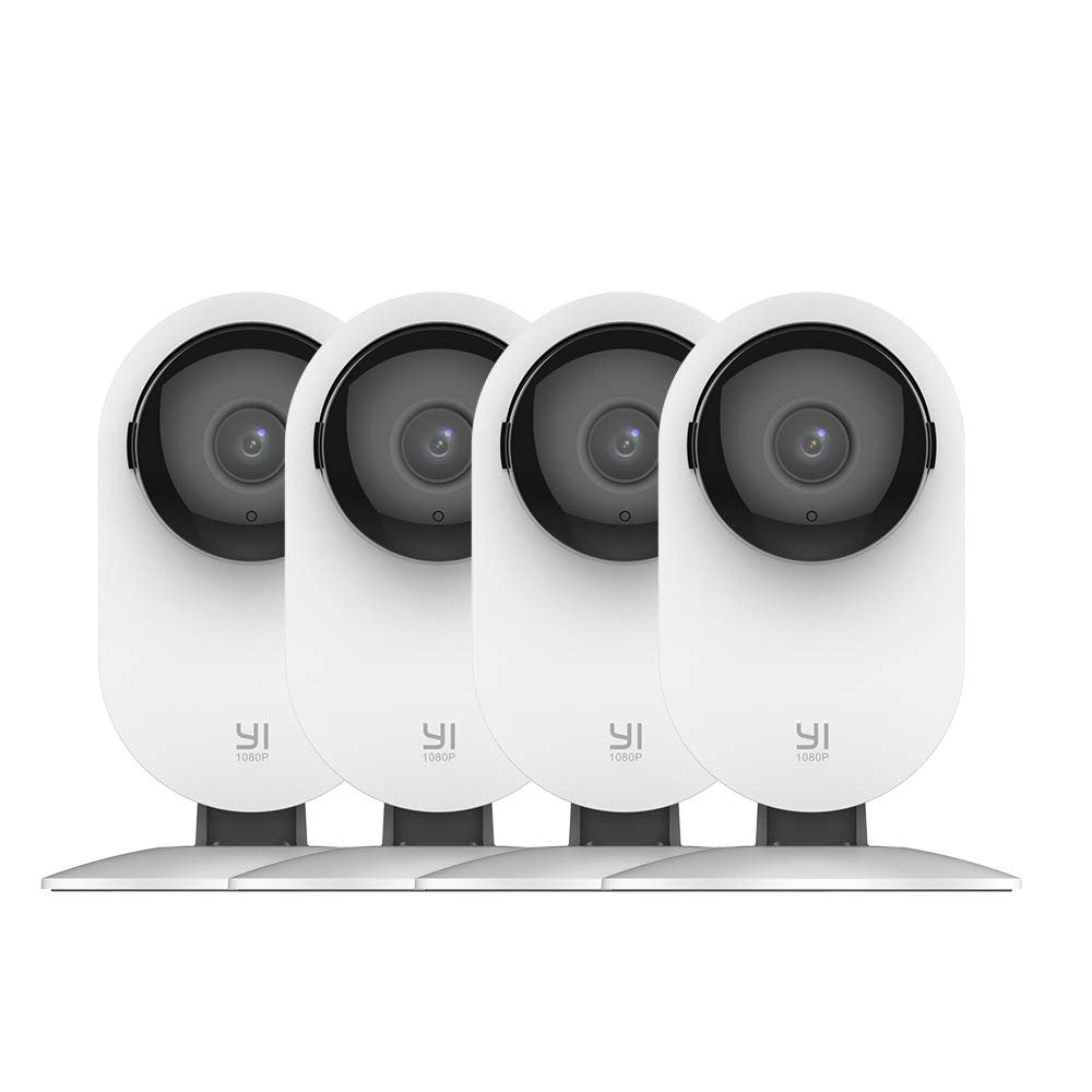 YI 4pc Home Camera, 1080p Wi-Fi IP Security Surveillance Smart System with 24/7 Emergency Response, Night Vision, Baby Monitor on iOS, Android App - Cloud Service Available by YI