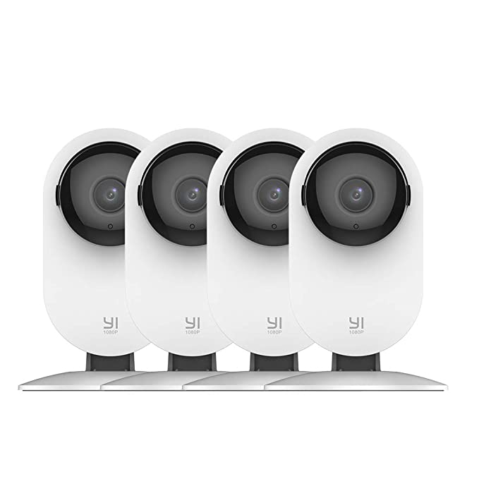 YI 4pc Home Camera, 1080p Wi-Fi IP Security Surveillance Smart System with 24/7 Emergency Response, Night Vision, Baby Monitor on iOS, Android App - Cloud Service Available best home security IP camera