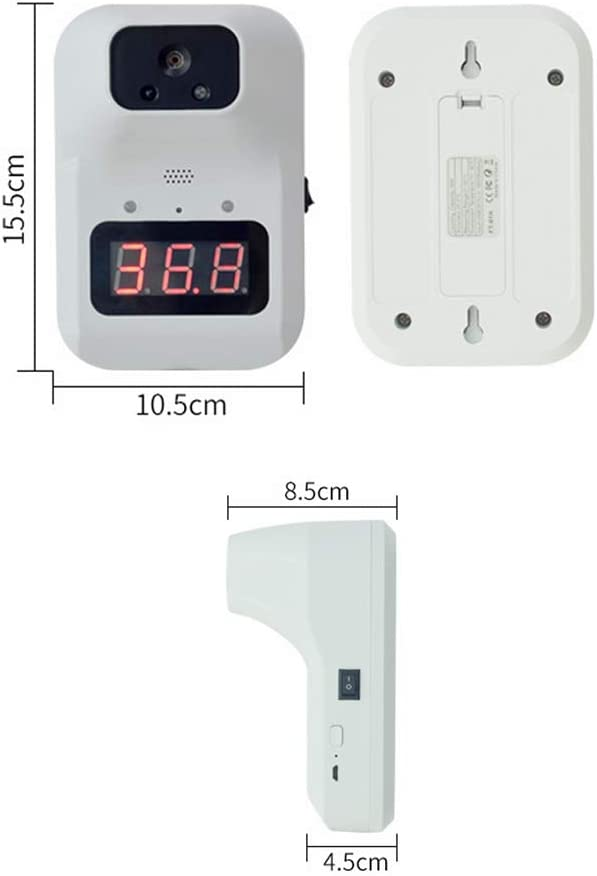 HEHAOYUAN Wall-Mounted Infrared Forehead Thermometer Non-Contact Digital Temperature Thermometer with Fever Alarm Accurate Instant Reading LCD Display Self-Service for Office Apartment Supermarket