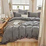 Softta Grey Bedding Queen Duvet Cover 3 Pcs Boho