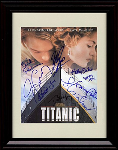 (Framed Titanic Autograph Replica Print - Cast Signed Movie Poster - Winslett and Dicaprio)