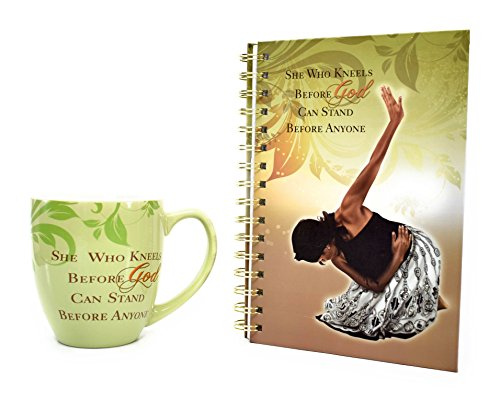 African American Expressions She Who Kneels Coffee Mug and Journal Christian Gift Set Bundle by AAE
