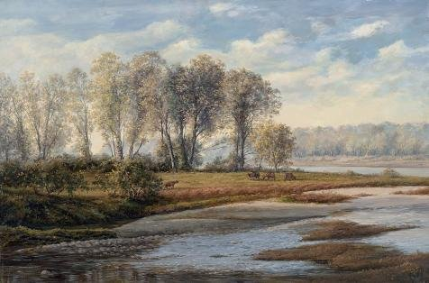 The Perfect Effect Canvas Of Oil Painting 'Decorative Landscape Painting Of The River Bank' ,size: 20x30 Inch / 51x77 Cm ,this Reproductions Art Decorative Canvas Prints Is Fit For Home Theater Decoration And Home Decoration And Gifts