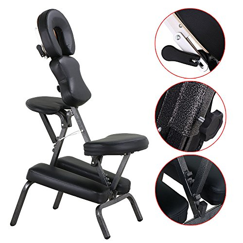Black New PU Massage Portable Massage Chair Tattoo Spa Free Carry Case