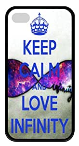 Infinite Love pattern Iphone 4 4S Case, Keep calm and love infinity Customized Iphone 4 TPU Black Case