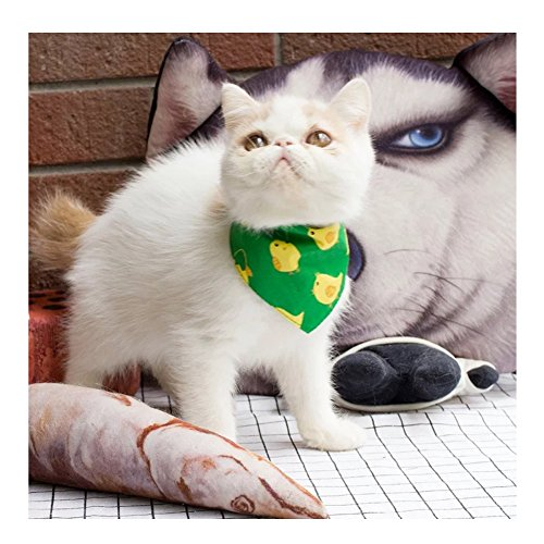 (Stock Show Pet Cat Triangle Bibs Scarf with Botton Cute Fashion Neckerchief Collar Necktie for Kitten/Kitty/Puppy, L, Green Ducklings)