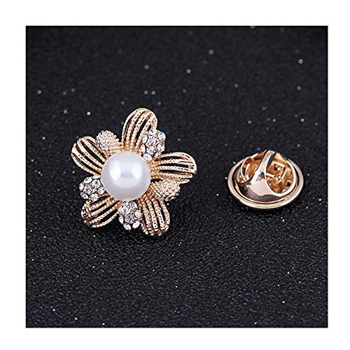Lapel Pin 2CM Flower Faux-Pearl Clear Rhinestone Crystal Brooch Pin for Women Girls Xmas