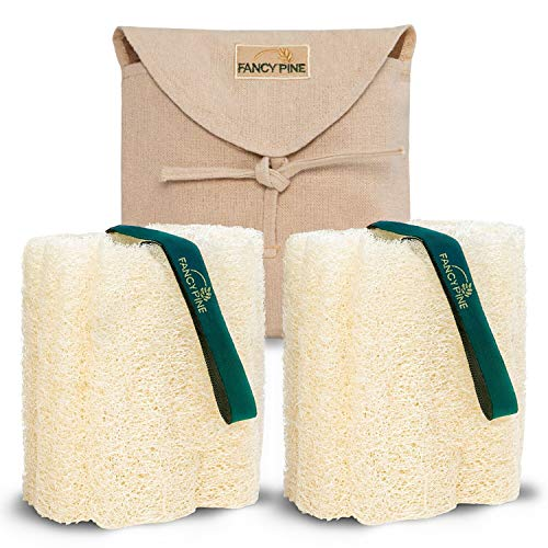 Loofah Sponge Set of Two for Exfoliating Skin - 100% Natural, Organic Shower Loofahs for Body - Premium, Luxurious Egyptian Body Sponge for Cellulite - Body Puff Scrubber