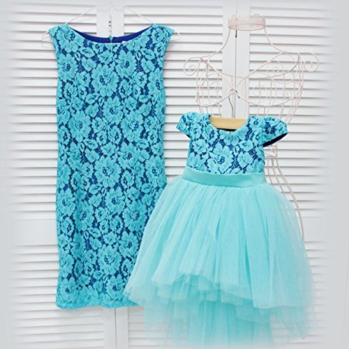 ca555e2e6c Amazon.com: Teal Mother daughter matching tutu lace dress, dresses for Mom  and baby, girls party dress, Mommy and Me birthday dress Tight dress:  Handmade