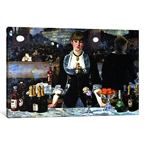 iCanvasART 1-Piece Bar at The Folies Bergeres Canvas Print by Edouard Manet, 1.5 by 26 by 18-Inch ()
