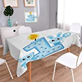 Anmaseven 1st Birthday Rectangle Patterned Tablecloth Boys Party Theme with a Cake and Candle Rabbit and Bear Animals Dust-proof Oblong Tablecloth Baby Blue and Pale Blue Size: W60 x L120