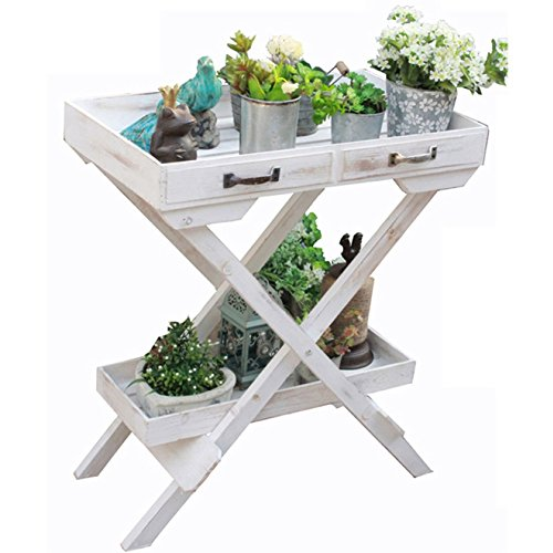 TongN Vintage Flower Stand American-Style Village Solid Wood Storage Rack Tray Garden Shelf for Indoor Balcony Living Room(White,23.613.827.6 in)