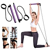 Lintelek Pilates Bar Kit with Resistance Band, Yoga Pilates Stick Muscle Toning Bar with Foot Loop, Portable Home Gym Yoga Pilates Exercise Bar for Daily Total Body Workout