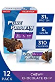 Pure Protein Bars, High Protein, Nutritious Snacks to Support Energy, Low Sugar, Gluten Free, Chewy Chocolate Chip, 2.75oz, 12 Pack