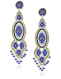 Miguel Ases Gunmetal and Synthetic Tanzanite Hydro-Quartz Slender Drop Earrings