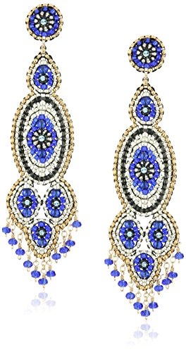 (Miguel Ases Gunmetal and Synthetic Tanzanite Hydro-Quartz Slender Drop Earrings)