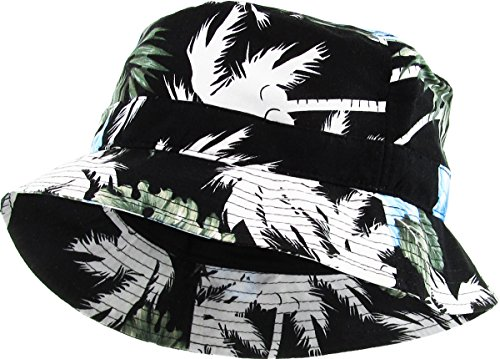 - KBM-006 BLK-BLU Floral Print Bucket Hat Hawaii Hat Cap