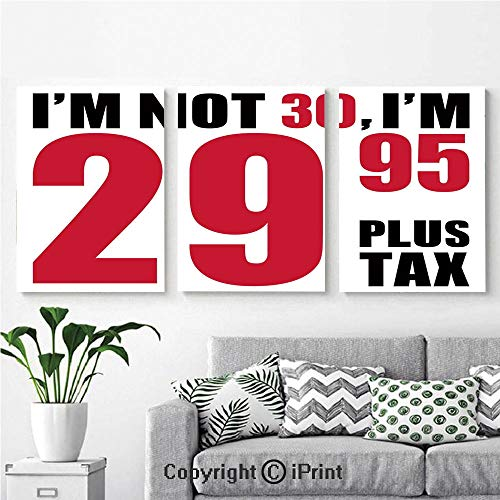 (Canvas Prints Modern Art Framed Wall Mural Forever Young Themed Funny Humorous Slogan Pictogram Style for Home Decor 3 Panels,Wall Decorations for Living Room Bedroom Dining Room Bathroom Office Red)
