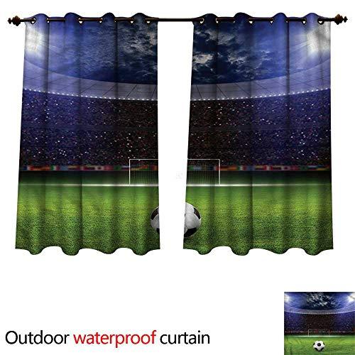 (cobeDecor Sports 0utdoor Curtains for Patio Waterproof Stadium Arena in The Night W96 x L72(245cm x 183cm))
