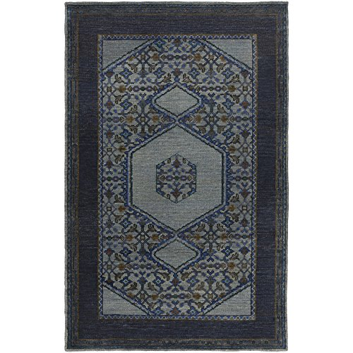 Surya HVN1218-23 Hand Knotted Casual Accent Rug, 2 by 3-Feet, Slate/Navy/Gray/Teal/Olive/Mocha/Forest by Surya