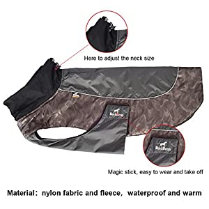 MY PET Clothes for Small Medium Dogs Large Breed Pitbull Waterproof And Warm Coat Jacket Outdoor Safety Raincoats with Reflective Article Plaid Winter Autumn Velcro Soft Khaki L
