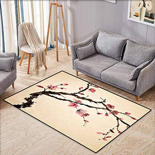 Living Room Area Rug,Japanese,Traditional Chinese Paint of Figural Tree with Details Brushstroke Effects Print,with No-Slip Backing,5'6