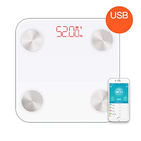 Báscula de baño, Bluetooth Báscula de baño con gran pantalla retroiluminada Capacidad de peso 180kg
