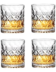 Whiskey Glasses Set, 10 oz Set of 4 Crystal Glasses, Suitable for Drinking Scotch Whiskey, Bourbon and Vodka Cocktail Drinks, Very Suitable for Parties, Bars, Restaurants and Families etc