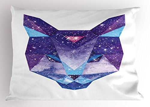 Space Cat Pillow Sham by Ambesonne, Kitty Head in Geometrical Lines with Star Cluster Cosmology Image, Decorative Standard Queen Size Printed Pillowcase, 30 X 20 Inches, White Sky Blue and - Geometrical Cat