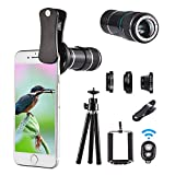 Telephoto lens kit, 4 in 1 Cell Phone Camera Lens, 12X Telephoto Lens + 180° Fisheye Lens + Wide Angle Lens + Macro Lens, Clip-On Lenses for iphone 8 7 6 plus, Samsung Smartphone + Remote Shutter 0.65