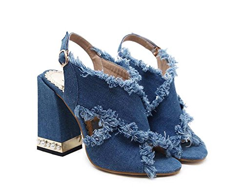 11cm Chunkly Heel Peep Toe Correa cruzada Slingbacks Sandalias Denim Burrs Zapatos de vestir Mujeres Pump Pure Color Hollow Belt Hebilla Pearl Deco Roma Zapatos OL Court Shoes Party Zapatos Eu Tamaño Azul