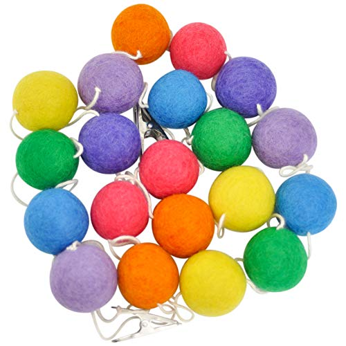 Natural Wool Felt Ball Garland, Large 1.5