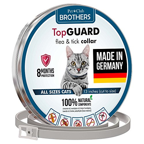 Flea Collar For Cats - Made in Germany - Tick Collar - All Natural Flea & Tick Collar - All Sizes Cats - 13 inches - 8 Months Protection - Safe & Hypoallergenic - Waterpoof Cat Anti Flea Collar