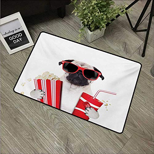 HRoomDecor Pug,Machine Washable Small Rug Going to The Movies Pug Dog Popcorn Soft Drink Movie Star Glasses Animal Fun Image W 24