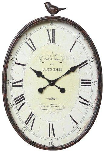 "Traits De Plume Wall Clock With Bird, 16.88X3X25.25"", DISTRESSED BRWN"