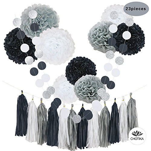 Wedding And White Decorations Black (CHOTIKA 23pcs Black White Tissue Paper Flowers Pom Poms party Decorations Tassel Garland for Wedding Bridal Shower graduation graduate school bachelor baby birthday supplies decor (Black-White-Grey))