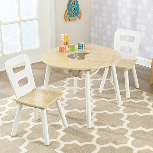 KidKraft Round Table and 2 Chair Set, White/Natural