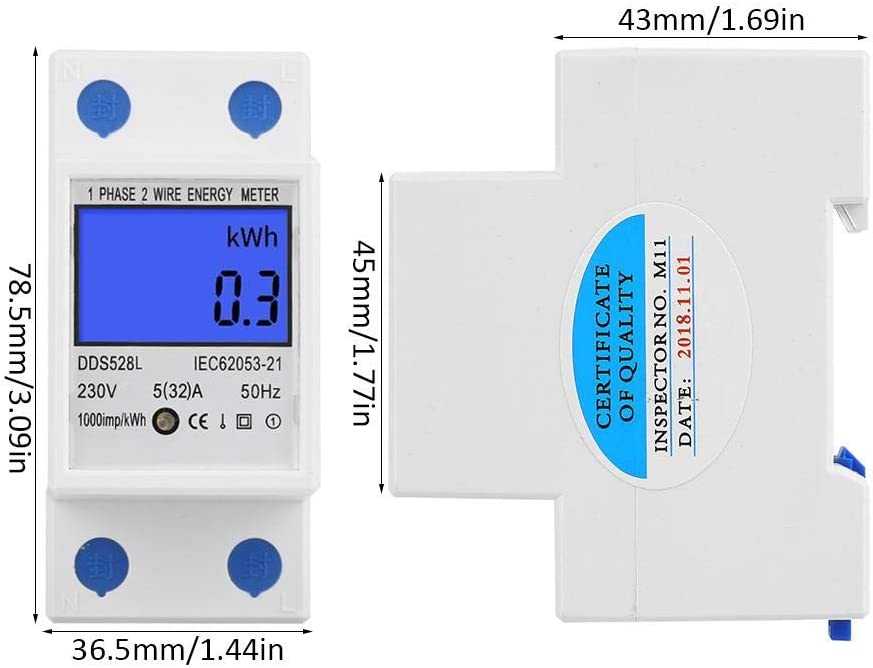 LCD Energy Meter 5-32A 230V 50Hz Digital Backlight Screen Watt Meter Single Phase DIN Rail Mounting KWh Meter DDS528L-230V