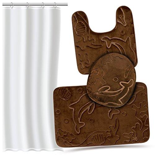 Effiliv 3 Piece Bathroom Rugs Set - Memory Foam Bath Mats, Extra Soft + Shower Liner, Brown