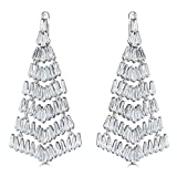 Platinum Plated Sterling Silver Cubic Zirconia Chandelier Earrings