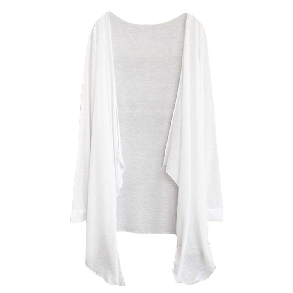 FAPIZI Womens Blouse Clearance Summer Womens Long Thin Cardigan T-Shirt Casual Modal Sun Protection Clothing Shawls (White)