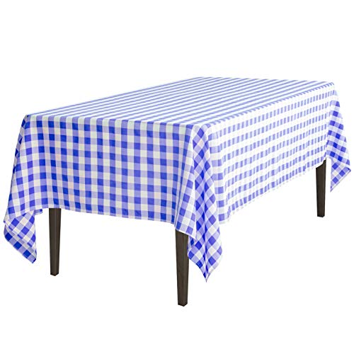 LinenTablecloth 60 x 102-Inch Rectangular Tablecloth Blue & White Checker ()