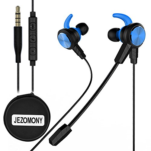 Wired Gaming Earphone with Detachable HD mic for PS4, Laptop Computer, Cellphone,JEZOMONY E-sport Earburds with Portable Earphone Bags, in-ear Headphone, Inline Controls for Hands-free Calling (Blue)