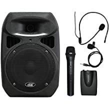 """Audio 2000s AWP6408L 50W 8"""" Dual Channel Wireless Microphone Portable PA System with Handheld, Headset & Lapel Mics"""